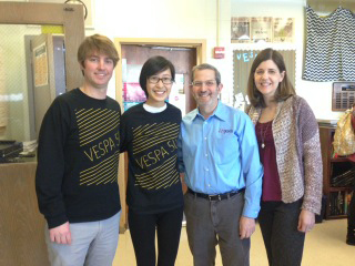 Hinsdale South senior Ashley Yong (second from left), with her adviser, Jim Kelly (far left), after she received the news that she was named the 2015 Illinois Journalist of the Year. The bearers of those good tidings were IJEA board members Stan Zoller (second from right) and Brenda Field. Zoller is national JEA's East Region director, and Field is JEA's Illinois state director.