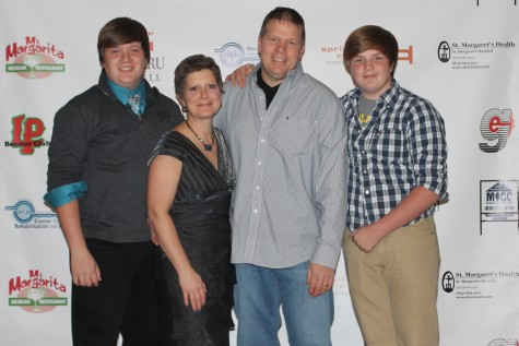 Georgia Stohr and her family attend LaSalle-Peru's Cavalier Choice Awards earlier this year to recognize senior superlative winners. From left: son Ryan, Georgia, husband Jeff, son Jake.