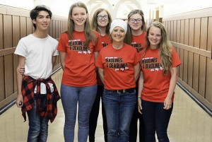 Georgia Stohr is surrounded at school April 30 by her five journalism state finalists on the eve of the IHSA journalism tournament in Charleston. From left: Austin Hernandez, Stephanie Bias, Kaitlyn Anthony, Stohr, Shelby Testa, Bethany Black.